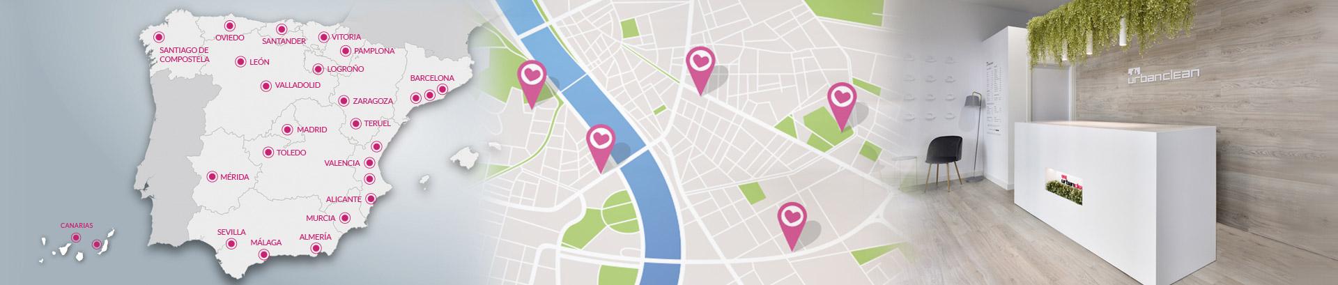 Mapa red de tiendas UrbanClean
