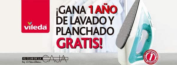Cartel promoción UrbanClean y Vileda. Un año de lavado gratis
